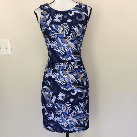 Jude Connally Navy Chinese Preppy Printed Dress S